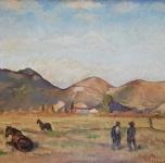 """1933 """"Monti Pisani"""", olio su cartone cm 34x46"""