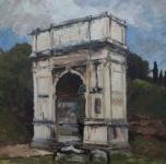 """1934  """"Arco di Tito""""  olio su tavoletta cm 34x25"""