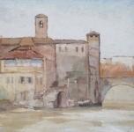 "1934 ""Roma, Isola Tiberina"" olio su tavoletta cm 37x48"