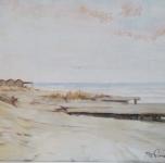 """seconda metà anni '30 """"Mare, Bocca d'Arno"""" olio su cartone cm 29x38"""