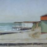 """1935 """"Spiaggia di Marina di PIsa"""" olio su cartone cm 27x41"""