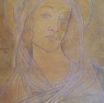 """1937 """"Madonna"""" cuoio inciso cm 38x30"""