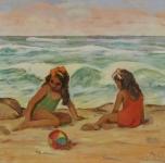 """1938 """"Bambine sul mare"""" olio su cartone cm 35x49"""