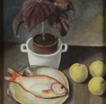 1938, Natura morta con pesce e mele, alio su cartone, cm 45x35