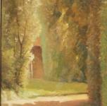 anni '30, seconda metà; Angolo del Giardino Scotto, olio su cartone, cm. 44x35