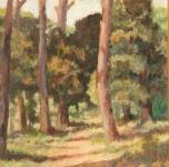 anni '30, seconda metà, Pineta, olio su cartone, cm 46x35
