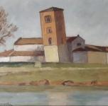"""anni '30 seconda metà """"San Michele degli Scalzi"""" olio su cartone cm 24x31"""