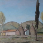 """anni '30 seconda metà """"Monti Pisani"""" olio su cartone cm 33x44"""