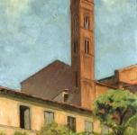 1931  Chiostro di S.Francesco (olio su tavoletta cm 50x25  Fondazione Cassa di Risparmio di Pisa)