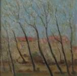 """1936 - 40 Primavera """"frutti in fiore"""" (bozzetto)  olio su cartone  cm 33,3x23,5  intitolato e firmato sul retro"""