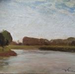 anni '30, seconda metà, L'Arno alle Piagge, olio su tavoletta, cm 24x32