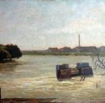 Resti del Ponte della Vittoria (olio su tavoletta  cm. 35x45)