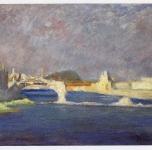 1945  Le rovine del Ponte Solferino (olio su cartone cm 30x40)