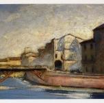 1945 Le rovine del Ponte di Mezzo  (olio su cartone cm 30x40)