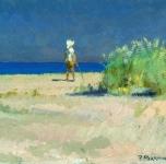 1920 ca  Spiaggia della Versilia (olio su cartone cm 17x25)