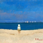 1920 ca  Spiaggia versiliese (olio su cartone  cm 17x25)