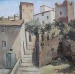 """anni '30 """"Torri di Certaldo""""  olio su cartone cm 24x32"""
