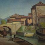 anni '30, seconda metà, Il Fosso dei Navicelli, olio su cartone cm.34,5x45,5