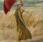 1920 ca  Sulle dunette (olio su cartone  cm 23,5x18,5)