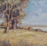 anni 30 Paesaggio con alberi (olio su cartone cm 32x40,5)