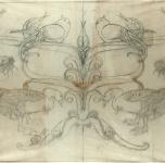 anni 20  Disegno per oggetto in cuoio  (cm 54,5x83,5)