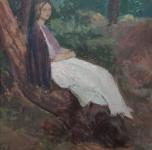 """anni '20 """"Figura nel bosco"""" olio su tavoletta cm 36x28"""