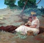 1925 - 30  Letture  (olio su cartone  cm. 46,5x50)
