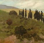 1940 - 45  Monti pisani (olio su tavoletta cm 17x24  Fondazione Cassa di Risparmio di Pisa)