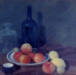 1920 ca  Natura morta con bottiglie (olio su cartone cm 47,5x49)