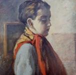1932  Ritratto di adolescente con fazzoletto rosso (olio su cartone cm55,5x46,5)
