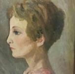 1932 Ritratto di ragazza di profilo  olio su tavoletta  cm 40,5x32,5  firmato e datato sul retro