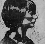 1916  Ritratto della sorella Margherita  (xilografia cm  27,5x25)