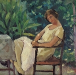 1920 ca In giardino (olio su tavoletta)